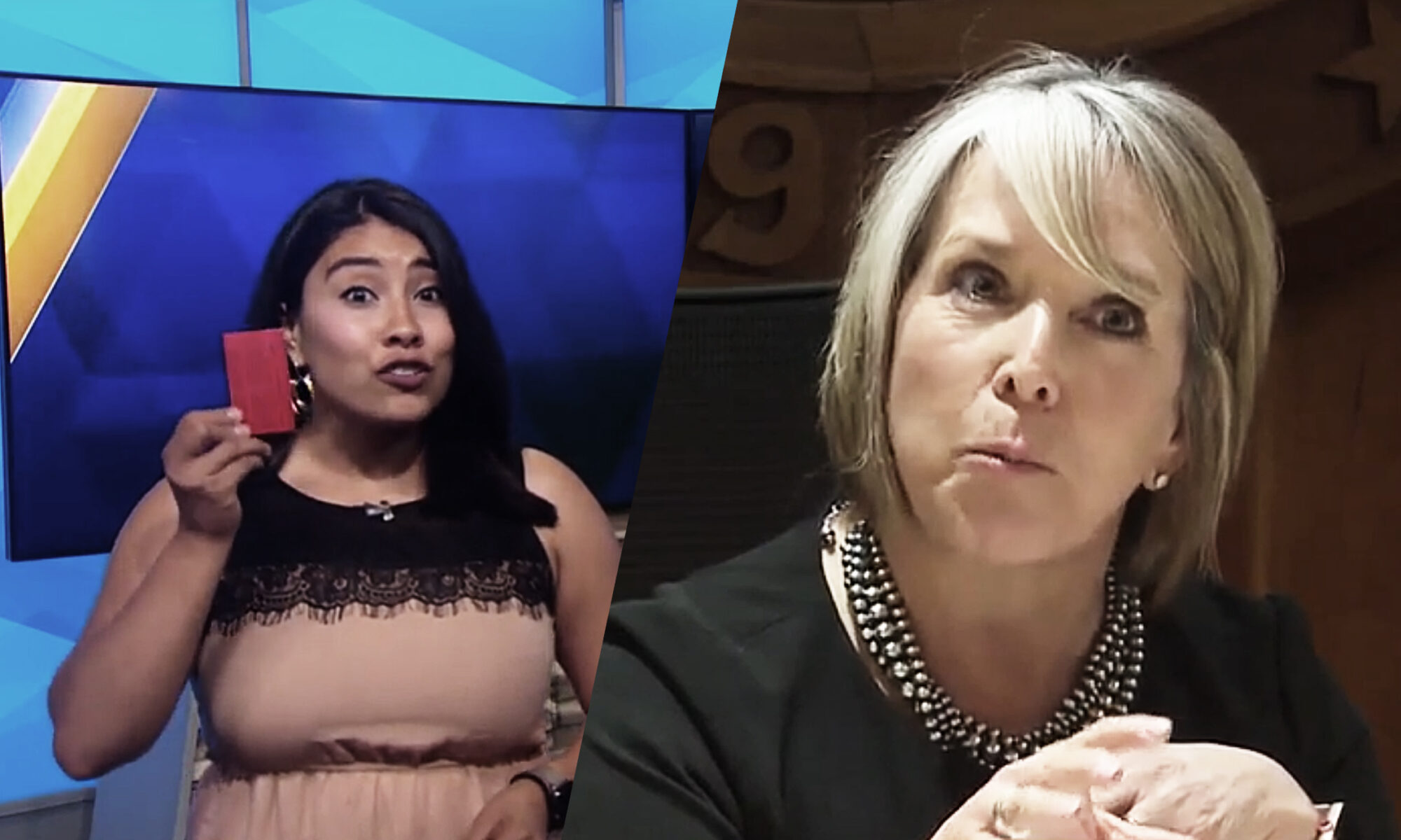 Michelle Lujan Grisham and KOAT News Reporter (Source: KOAT News 7)